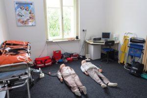 Odborná učebna první pomoci s transportními prostředky a elektronickými resuscitačními modely